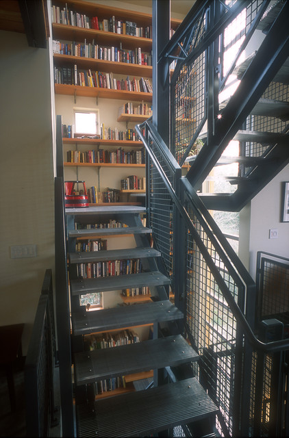 Inspiration for an industrial u-shaped open staircase remodel in Seattle