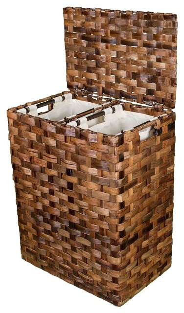 Bird Rock Home Abaca Divided Flat Weave Laundry Hamper, Espresso.