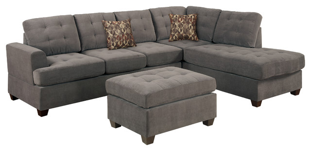 Poundex Suede Microfiber Fabric Sectional Sofa Transitional Sofas