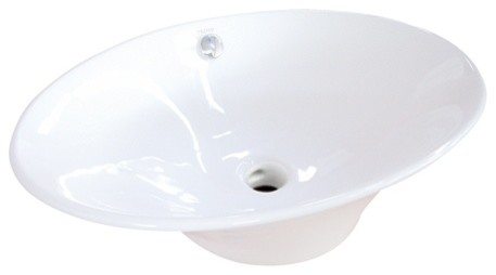 Fauceture Blossom White China Vessel Bathroom Sink With Overflow Hole.