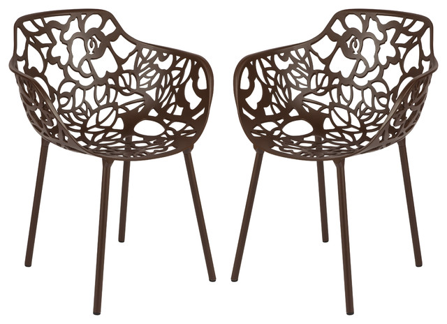 Fallbrook Dining Armchairs, Set Of 2, Brown.