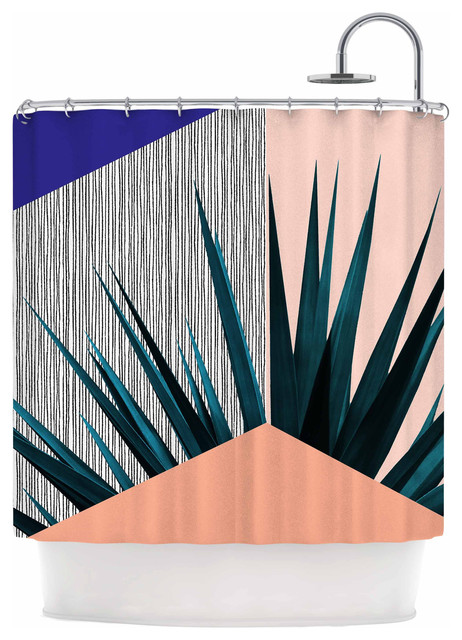 Kess InHouse Cafelab Summer Geometry Blue Coral Shower Curtain
