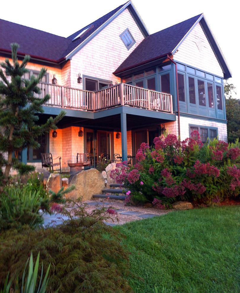 Home design - large beach style home design idea in Richmond