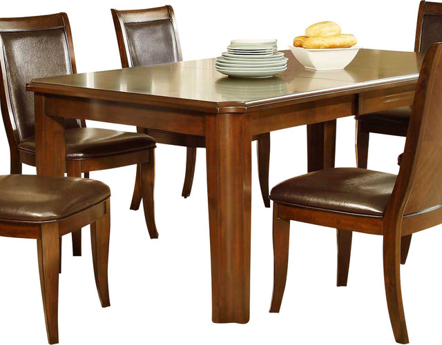 Homelegance wolfe rectangular dining table in medium brown for Traditional dining table for 8
