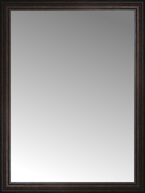 "31""x41"" Custom Framed Mirror, Distressed Brown."