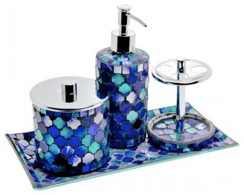 Mosaic Glass Bathroom Set, Blue