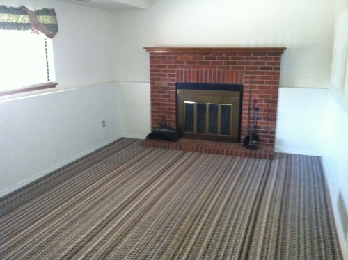 family room striped carpeting walls that must stay white