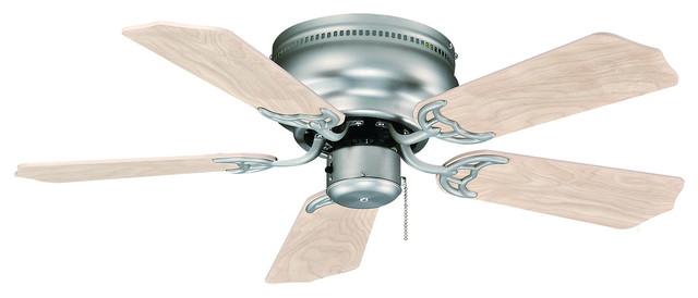 Flush Mount 30 Ceiling Fan, Brushed Nickel, Natural Maple Blades.