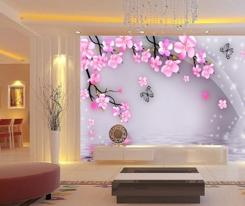 Cherry blossoms wall mural 6 feet 2 inch by 4 feet 1 inch for Cherry blossom mural works