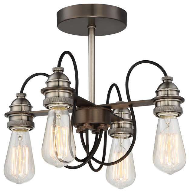 Uptown Edison 4-Light Semi-Flush Mounts, Harvard Court Bronze/pewter.