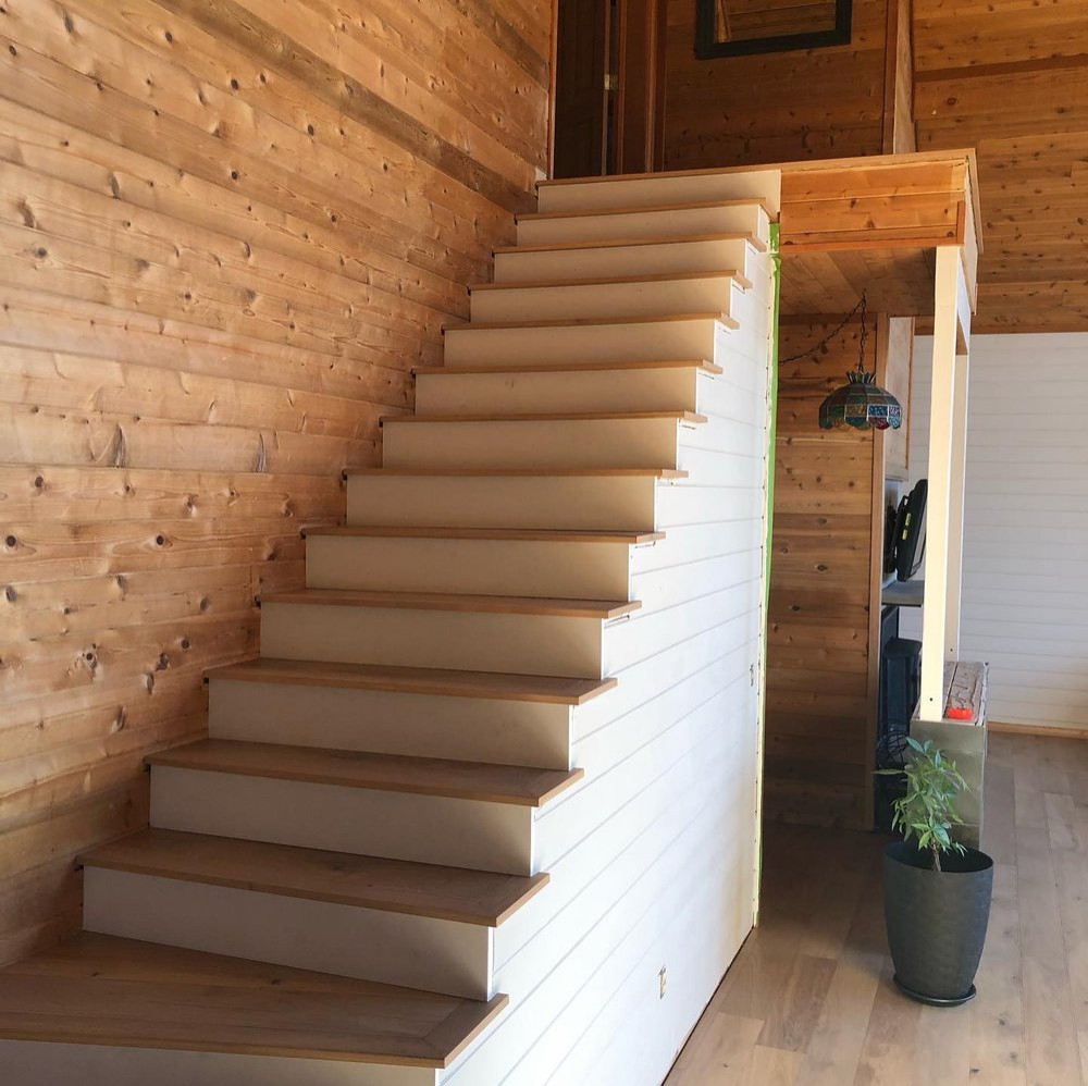 Staircase with White Risers