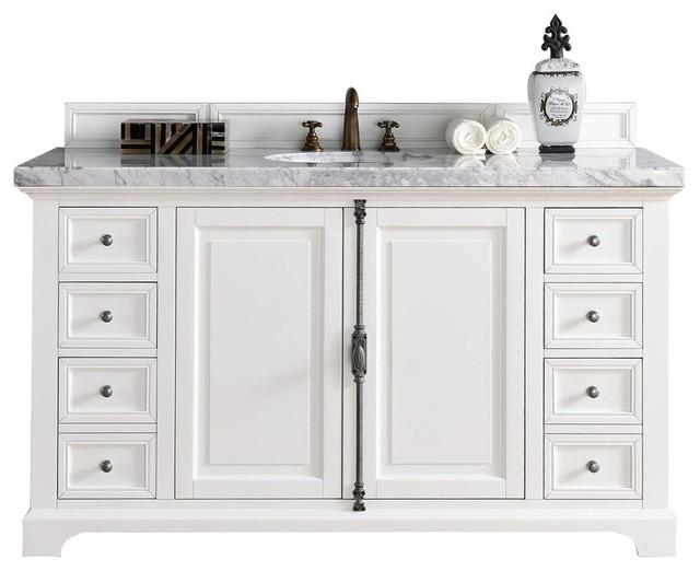 "Newport Single Bathroom Vanity With 2 Cm Carrara Marble Top, 60""."