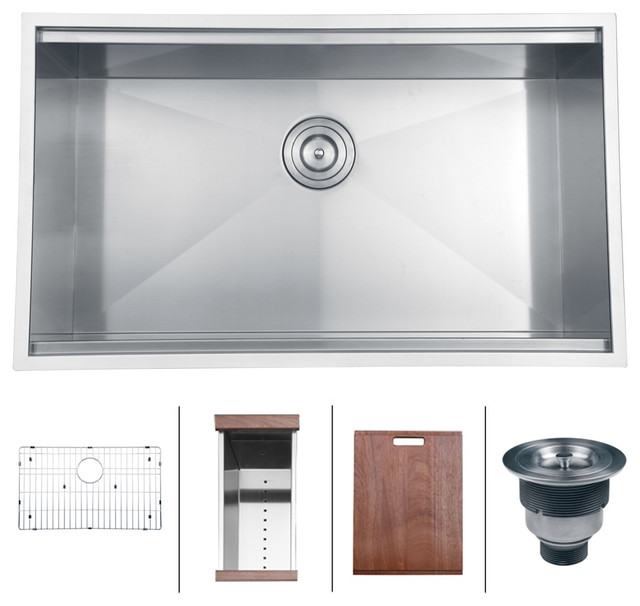 Medium image of ruvati rvh8300 undermount 16 gauge 32   kitchen sink single bowl contemporary kitchen sinks