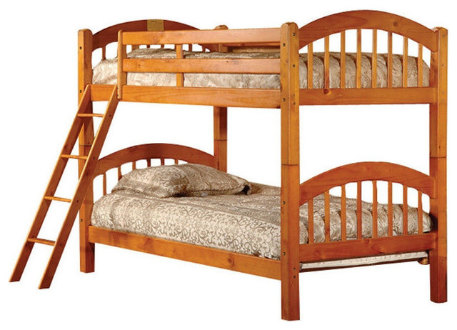 Twin Over Twin Bunk Bed With Ladder N Honey Oak Wood