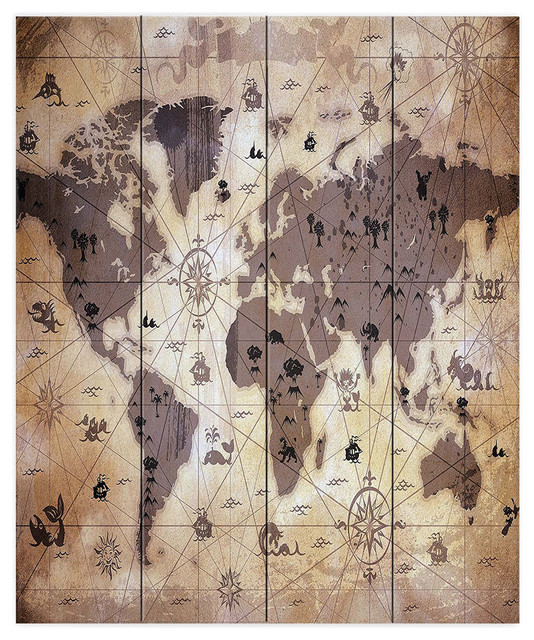 Whimsical World Map V Wood Plank Wall Art - Contemporary - Prints ...