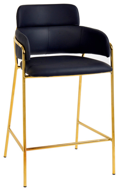Phenomenal Faux Black Leather Counter Stool Contemporary Modern Gold Counter Stool Setof2 Squirreltailoven Fun Painted Chair Ideas Images Squirreltailovenorg