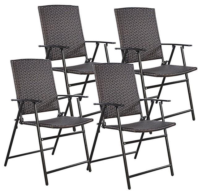 Modern Rattan Folding Chair Set Of 4