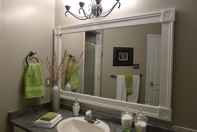 Bathroom Vanity With Custom Mirror Frame Contemporary
