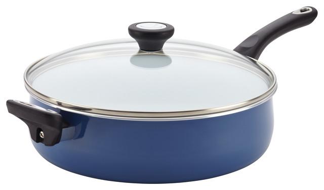 Farberware Purecook Ceramic Nonstick Cookware 5 Qt Covered Jumbo Cooker, , Blue.