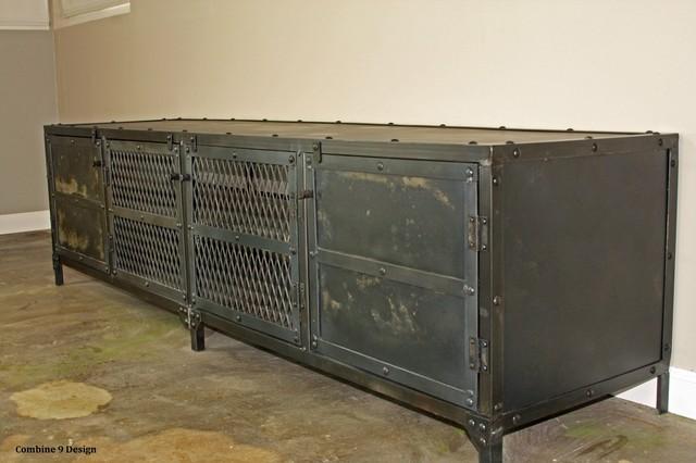 vintage industrial media console/ credenza minimalist, urban, loft
