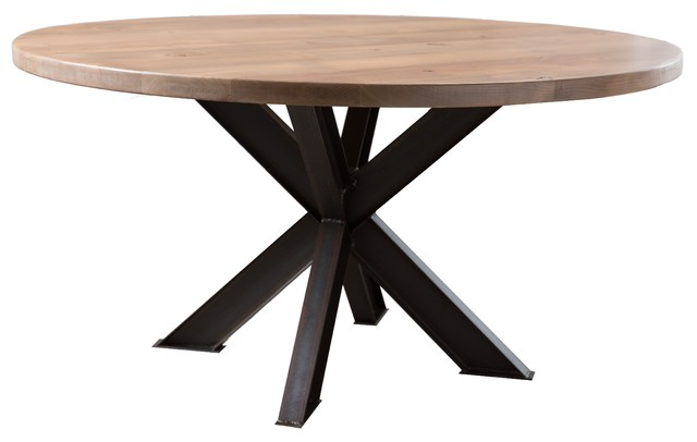 Round Steel X Base Pedestal Table Charred Ember Finish 48