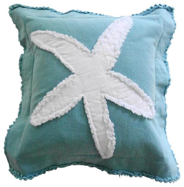 Favorite Coastal Starfish Throw Pillow - Beach Style - Decorative Pillows  JL14