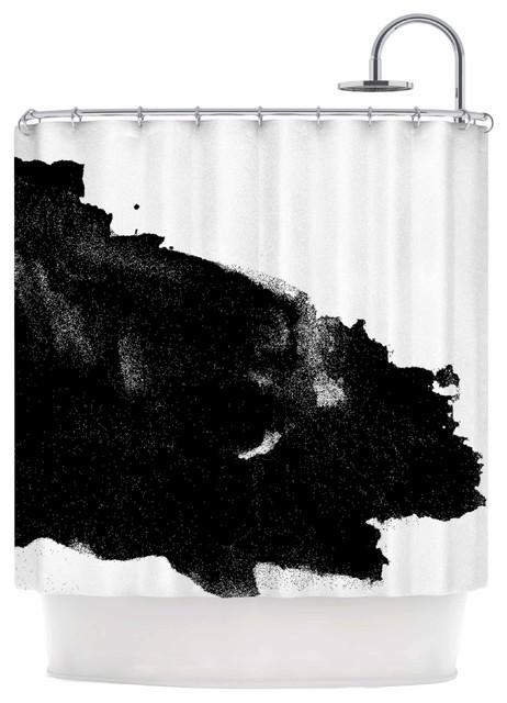 Dark Stars Black White Abstract Painting Shower Curtain