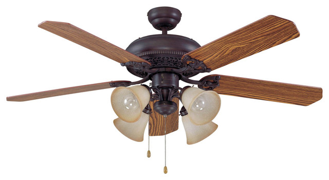 Manor 4-Light Indoor Ceiling Fans, Aged Bronze Brushed.