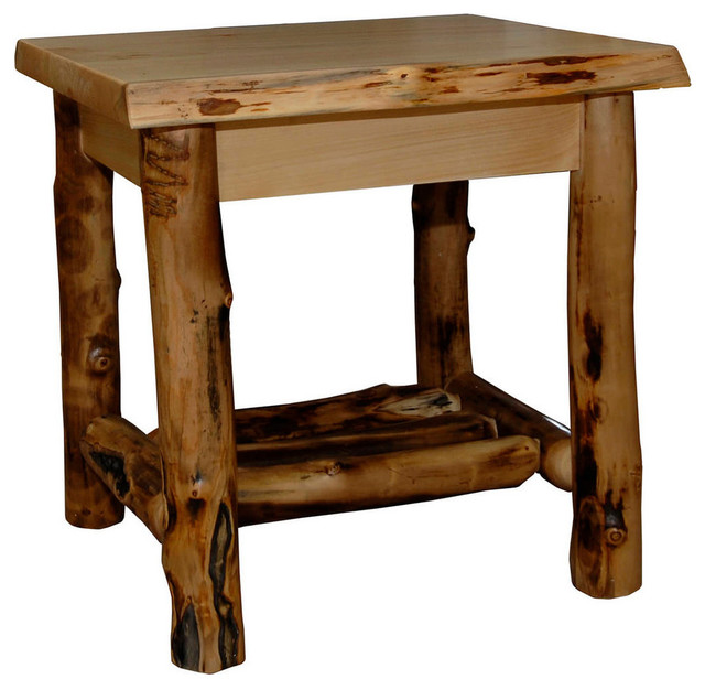 Rustic Aspen Log End Table Rustic Side Tables End Tables By Furniture Barn Usa