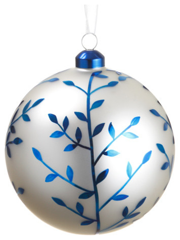 silk plants direct glass ball ornament pack of 6 blue white - Blue Christmas Ornaments
