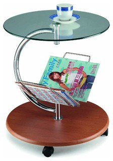 Modern Side Table With Tempered Glass Top