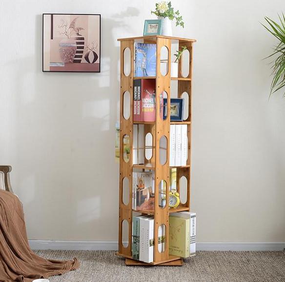 Bamboo Wood 5-Shelving Bookshelf, Revolving Bookcase Organizer Cabinet Rack, 57.