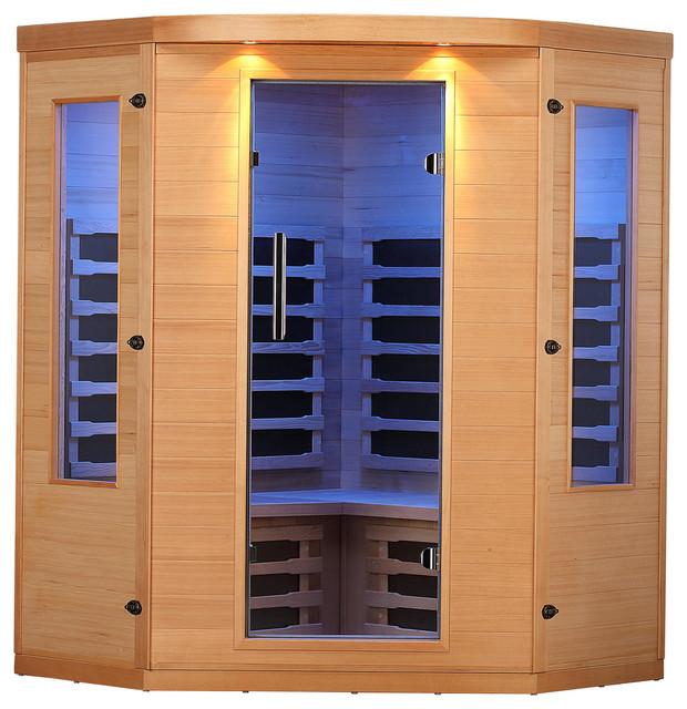 Aspen 4-Person Fir Corner Sauna With 7 Carbon Far Infrared Heaters.