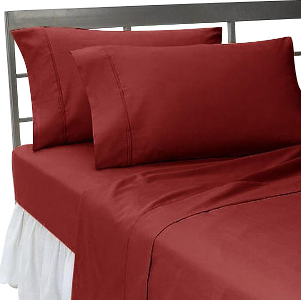 600tc 100 Egyptian Cotton Solid King Size Flat Sheet And 2 Pillowcases Contemporary Pillowcase Sets By World Mart Usa Inc