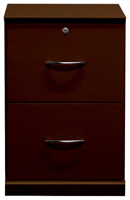 Flat Iron File Cabinet With Two Drawers, Antique Cherry.