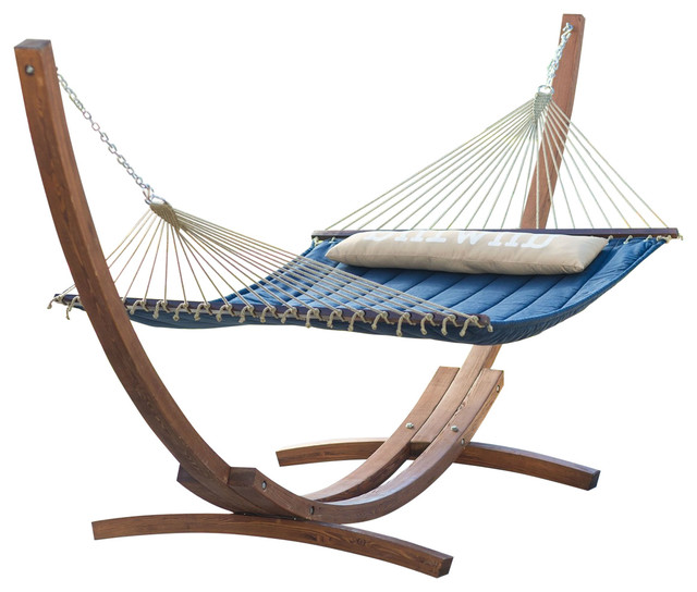 Blue 2 Person Quilted Hammock With Durable Wood Frame Stand