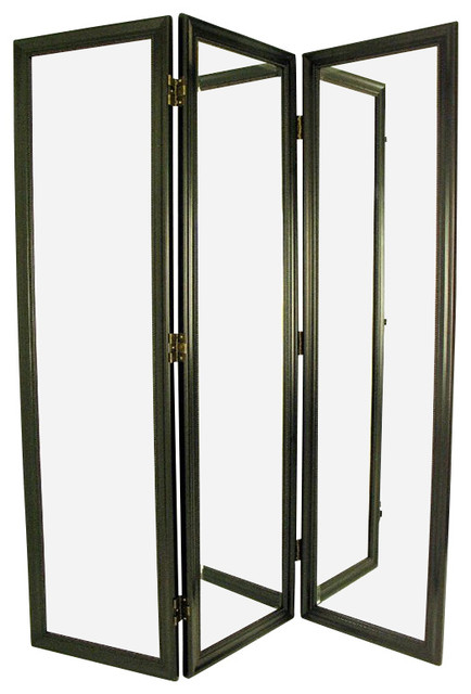 wayborn mirror with frame full size dressing room divider in black contemporary screens and