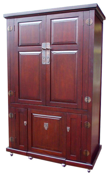 Computer Armoire With Pull-Out Seat - Traditional - Armoires And Wardrobes - by D-Art Collection ...