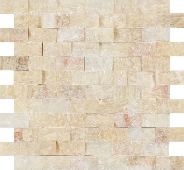 Honey Onyx Brick Mosaic 1x2 Split Faced Mosaic Tiles