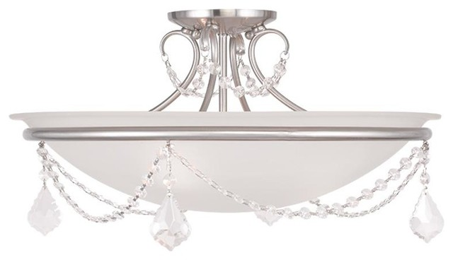 Three Light Brushed Nickel Bowl Semi Flush Mount