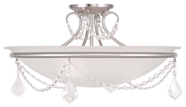 Brushed Nickel Semi Flush Ceiling Light: Three Light Brushed Nickel Bowl Semi-Flush Mount transitional-flush-mount- ceiling,Lighting