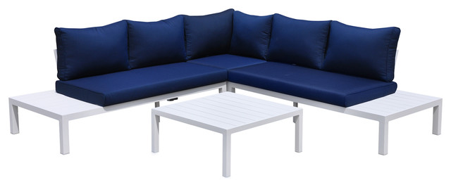 Osborne White Aluminum Outdoor 4 Pc Sectional With Cushions