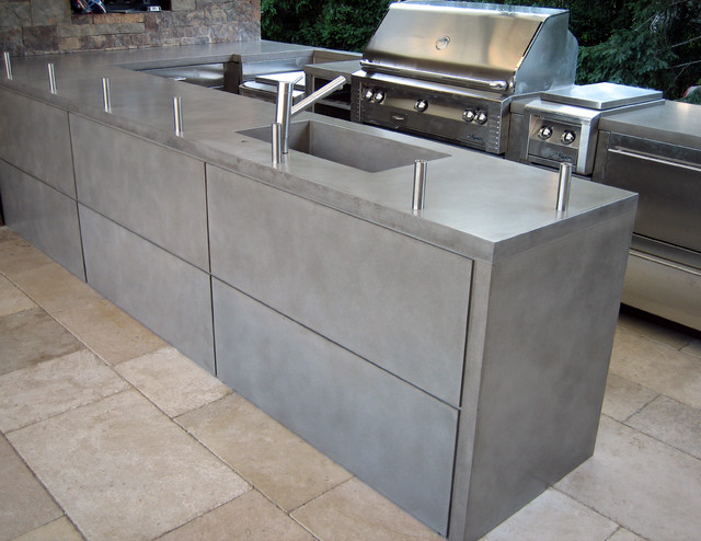 Outdoor Light Gray Wrap Concrete Kitchen Countertops