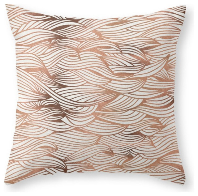 Society6 Rose Gold Waves, Throw Pillow - Decorative Pillows - by Society6