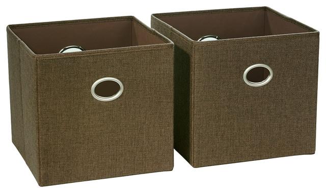 Beau RiverRidge Home Folding Storage Bins, Set Of 2, Brown