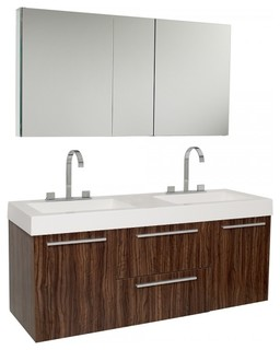 Fresca Opulento Walnut Double Sink Bathroom Vanity With Medicine Cabinet