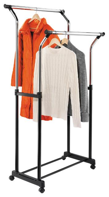 Flared Double Garment Rack In Black/chrome.