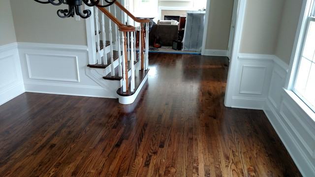Red Oak Hardwood Flooring With Medium Brown Stain