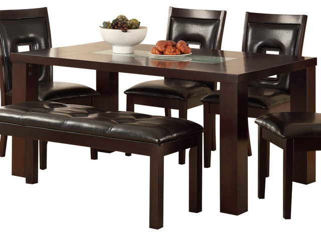 Homelegance Lee Dining Table with Crackle Glass Insert in Espresso