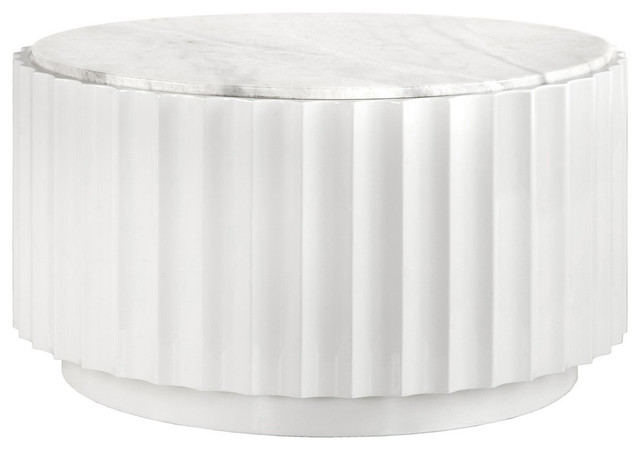 worlds away white lacquer scalloped round coffee table with white marble top